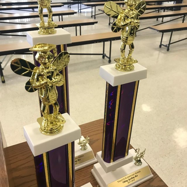 The trophies are polished and ready to be awarded to this year's spelling bee winners.
